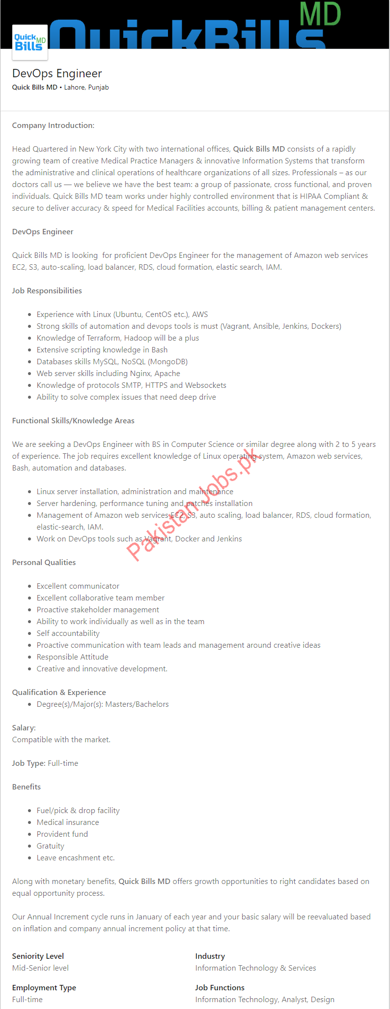 Quick Bills DevOps Engineer Job in Lahore