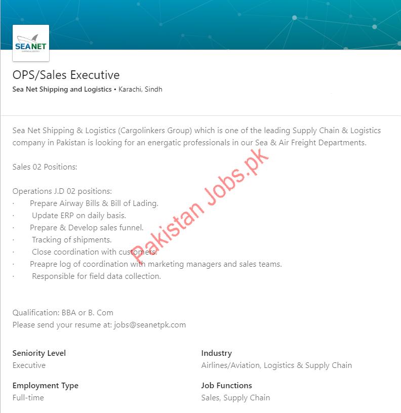 Seanet Shipping & Logistics Sales Executive Jobs 2019 Job