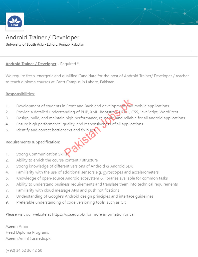University of South Asia Android Trainee & Developer Jobs