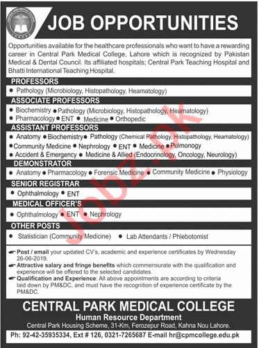Central Park Medical College Jobs 2019 in Lahore