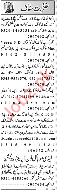 Management Staff in Lahore 2019