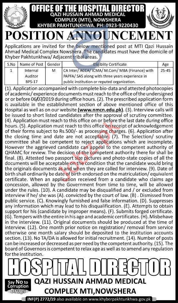Qazi Hussain Ahmed Medical Complex MTI Jobs 2019