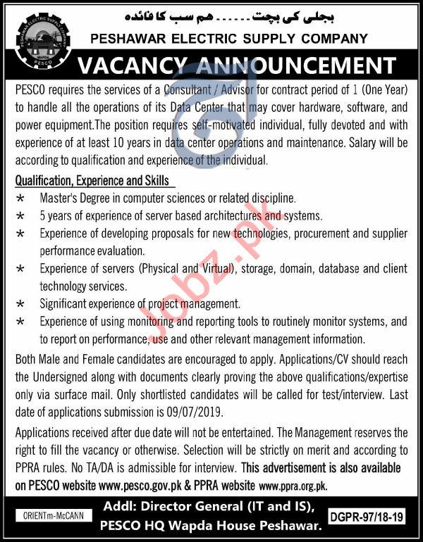 PESCO Consultant & Advisor Job in Peshawar