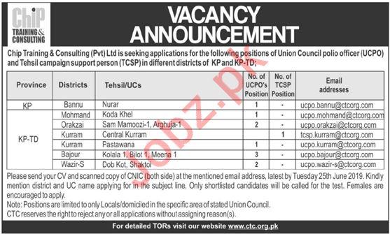 CHIP Training & Consulting Pvt Ltd NGO Jobs 2019