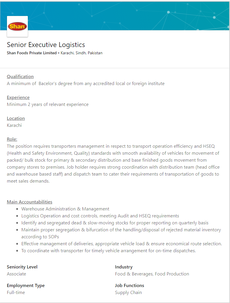 Senior Executive Logistics Job in Karachi 2019 Job
