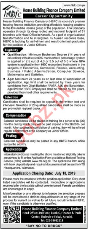 House Building Finance Company Limited HBFCL Jobs via NTS