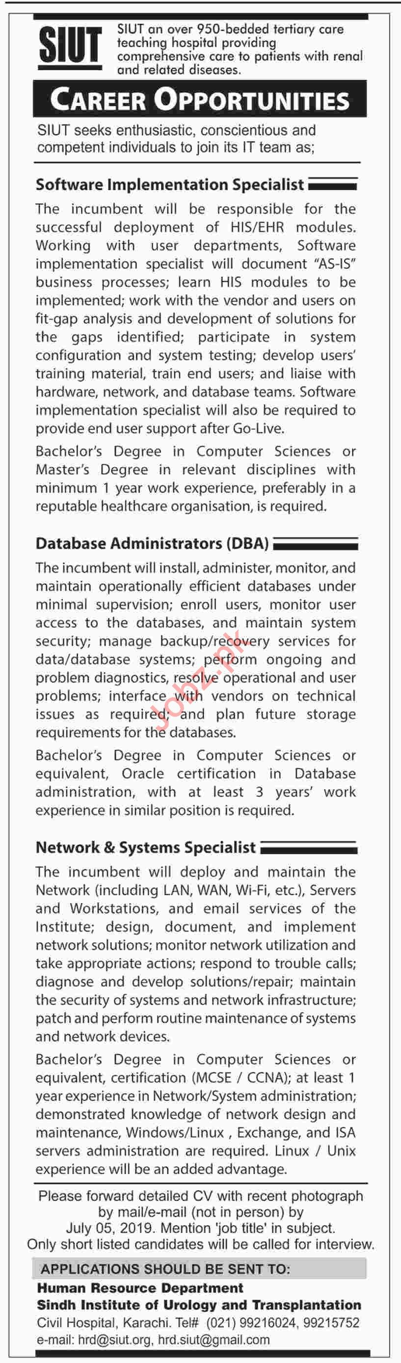 Sindh Institute Of Urology & Transplantation MIT Jobs 2019