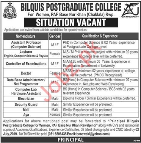 Bilquis Postgraduate College For Women Jobs 2019 in Chaklala