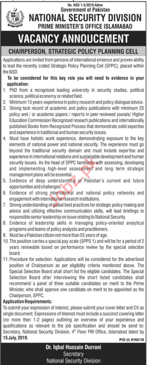 National Security Division Job 2019 For Chairperson