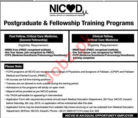 NICVD National Institute Of Cardiovascular Diseases Job 2019