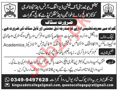 Professor Associate Professor Assistant Professor Lecturer Jobs In National University Of Fashion Designing Arts Technology