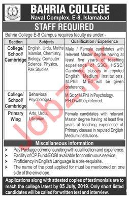 Bahria College Naval Complex E 8 Islamabad Jobs 2019