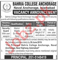 Bahria College Anchorage Naval Anchorage Islamabad Jobs