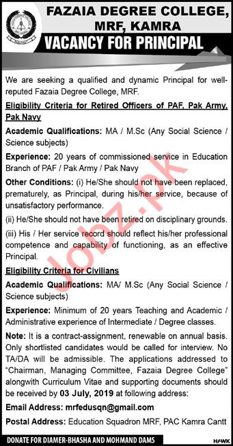 Fazaia Degree College MRF Kamra Job 2019 For Principal