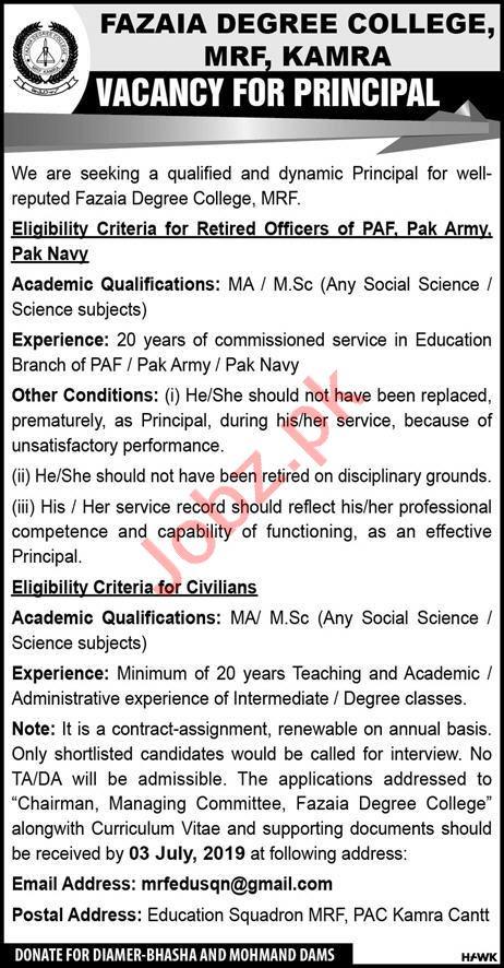 Fazaia Degree College Principal Job 2019 in Kamra
