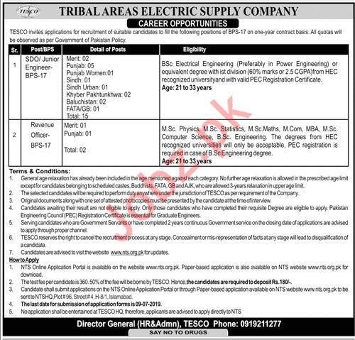 Tribal Areas Electric Supply Company TESCO Jobs 2019 via NTS