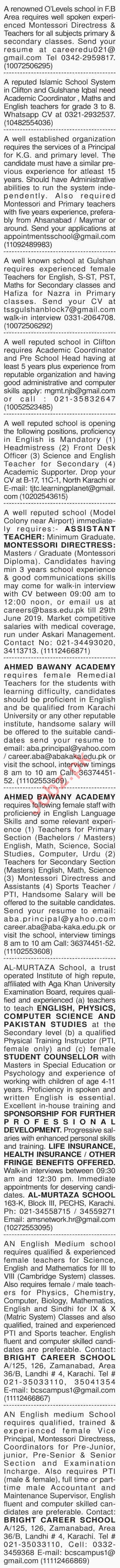 Dawn Sunday Classified Ads 23rd June 2019 for Teaching Staff 2019