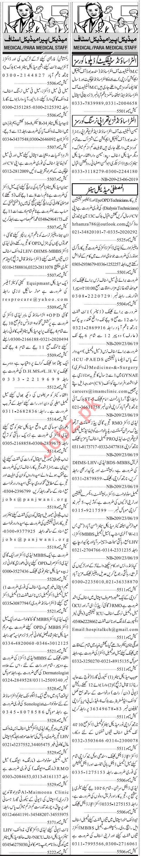 Jang Sunday Classified Ads 23rd June 2019 for Medical Staff