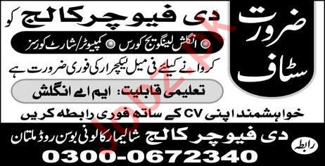 The Future College Jobs 2019 in Multan