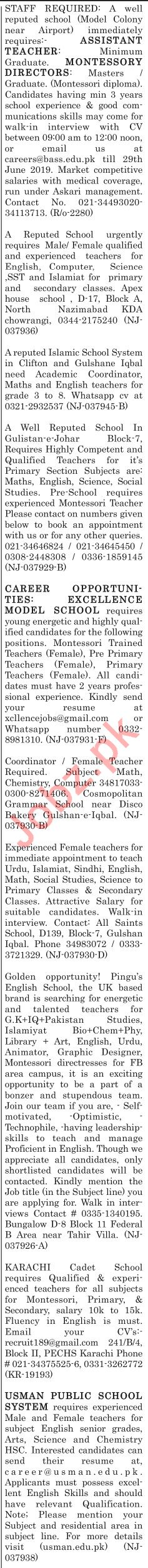 The News Sunday Classified Ads 23rd June 2019 for Teachers