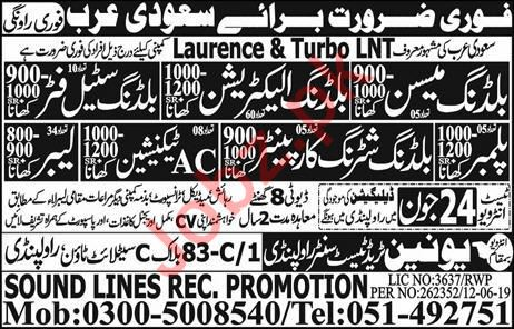 Laurence & Turbo LNT Company Jobs 2019 In Saudi Arabia 2019
