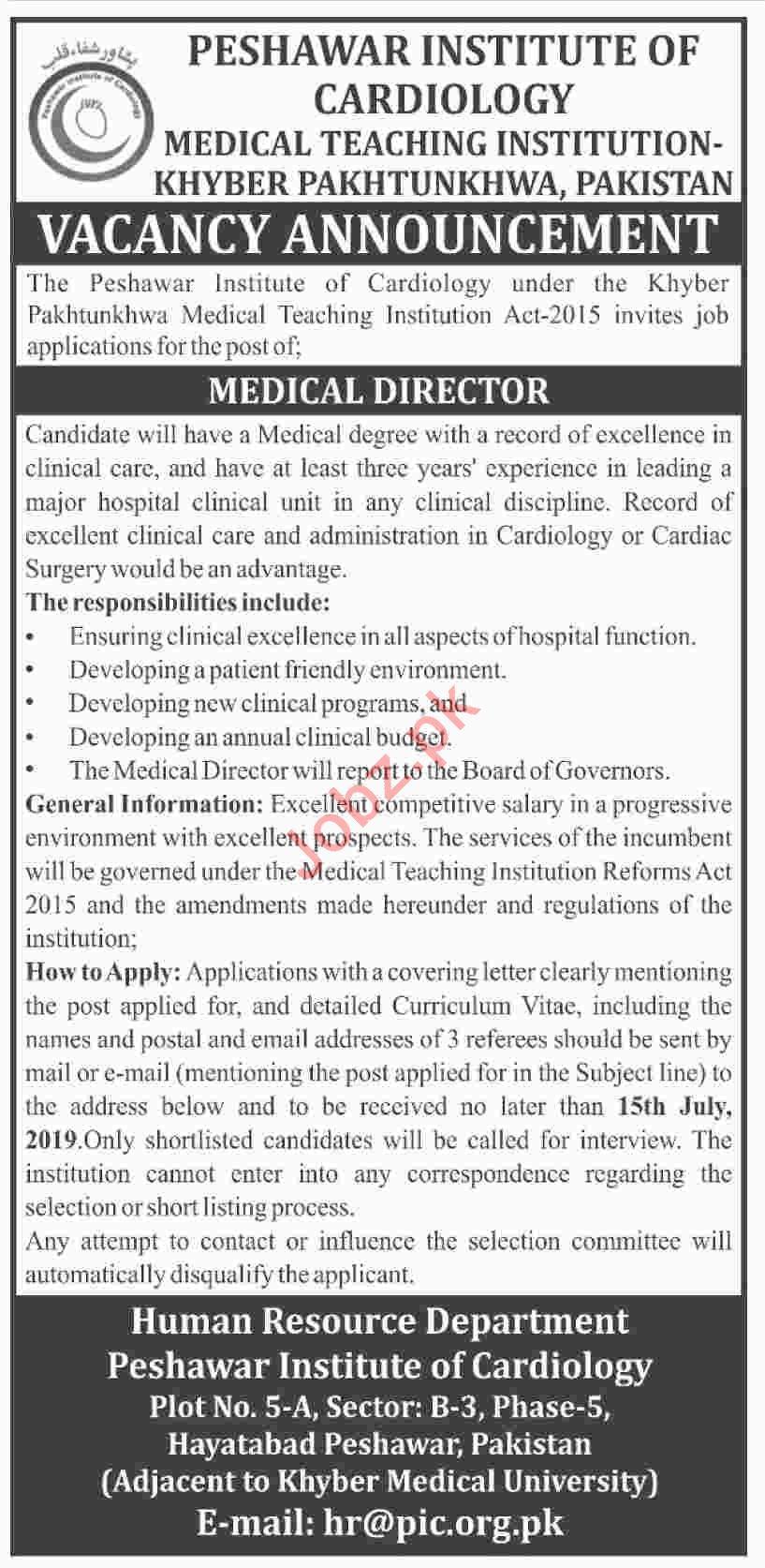 Peshawar Institute of Cardiology PIC Peshawar Jobs 2019