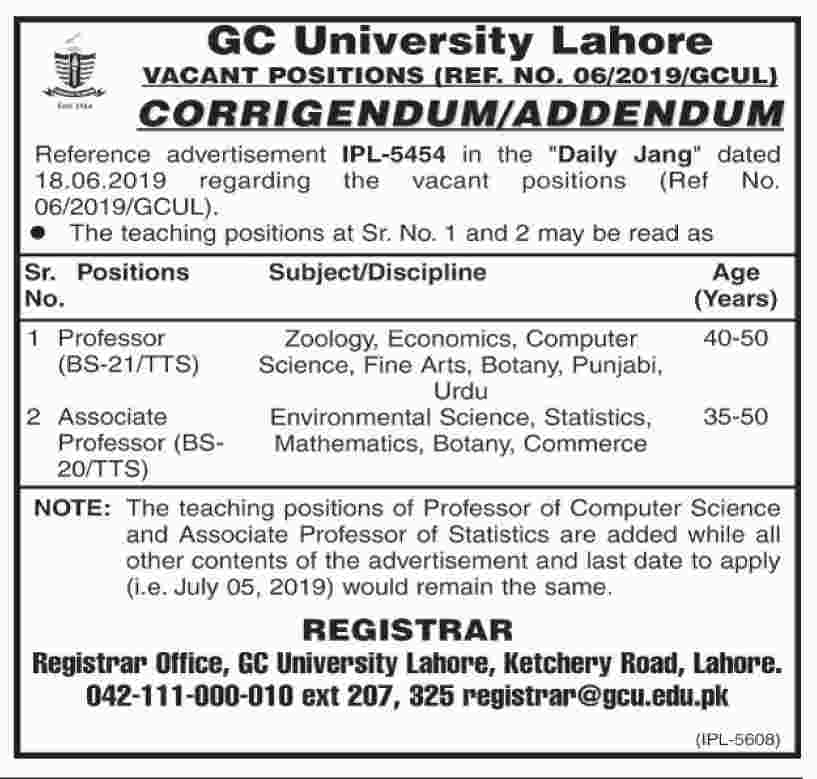GC University Lahore Jobs 2019