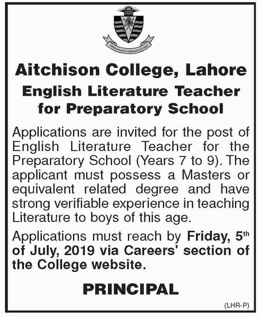 Aitchison College English Literature Job in Lahore