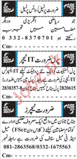 Teachers Jobs 2019 in Quetta