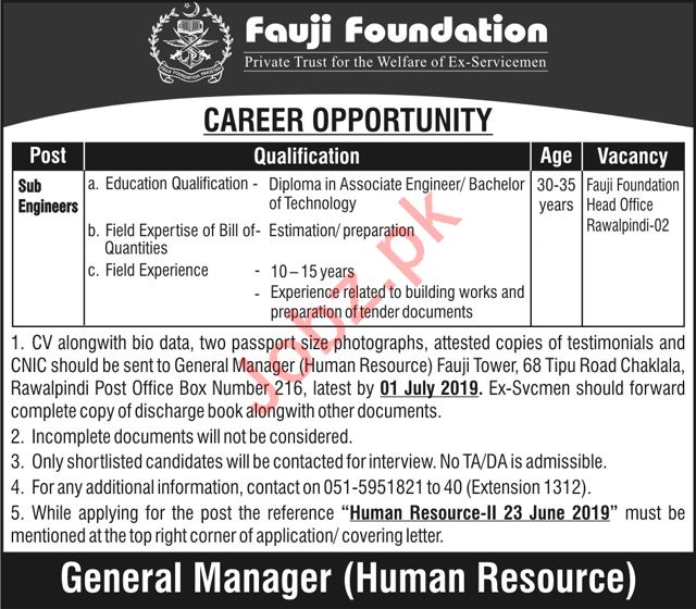 Fauji Foundation Jobs 2019 For Sub Engineers in Rawalpindi