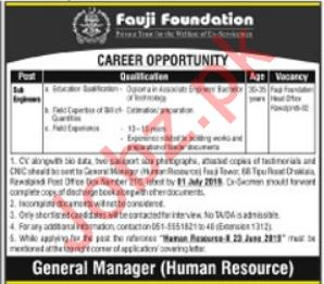 Fauji Foundation Jobs 2019 For Sub Engineers in Rawalpindi