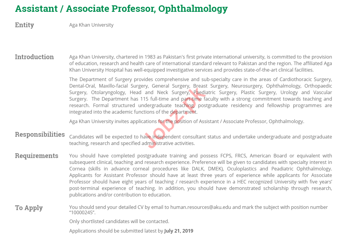 Assistant Professor & Associate Professor Jobs 2019