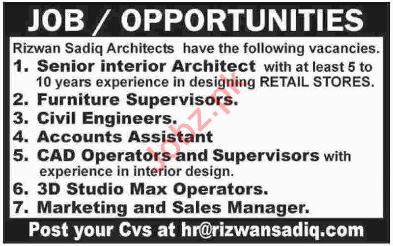 Rizwan Sadiq Architect Karachi Jobs For Senior Architect 2020 Job Advertisement Pakistan