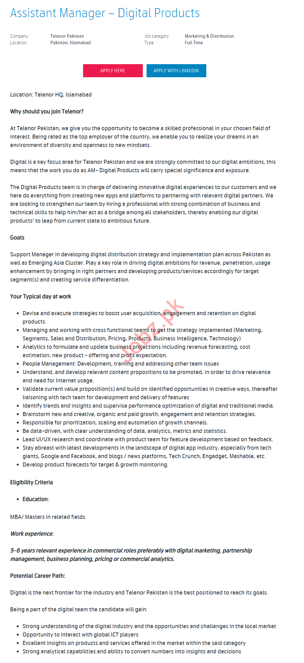 Assistant Manager Digital Products Job 2019 in Islamabad