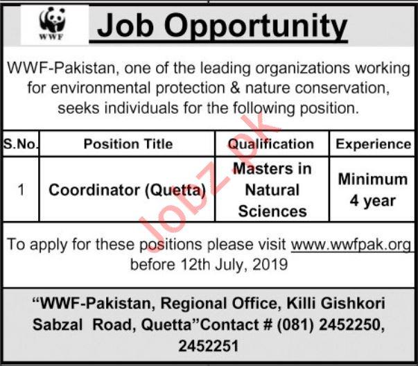WWF Pakistan NGO Job 2019 in Quetta