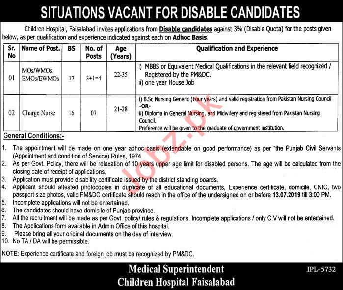 Children Hospital Faisalabad Disabled Persons Jobs 2019