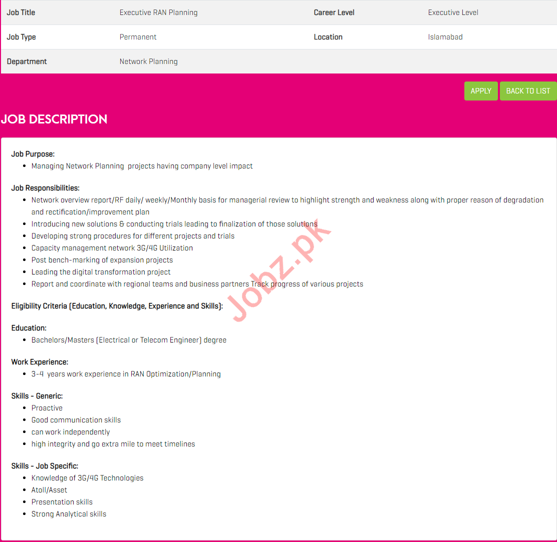 Zong Pakistan Jobs for Executive RAN Planning