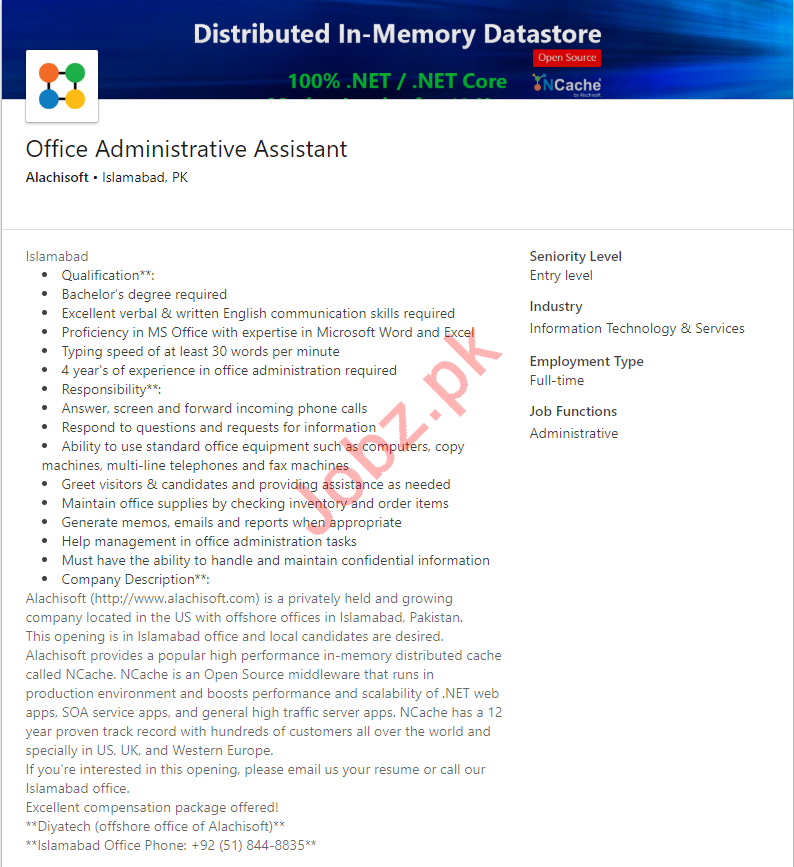 Alachisoft Islamabad Jobs for Administrative Assistant