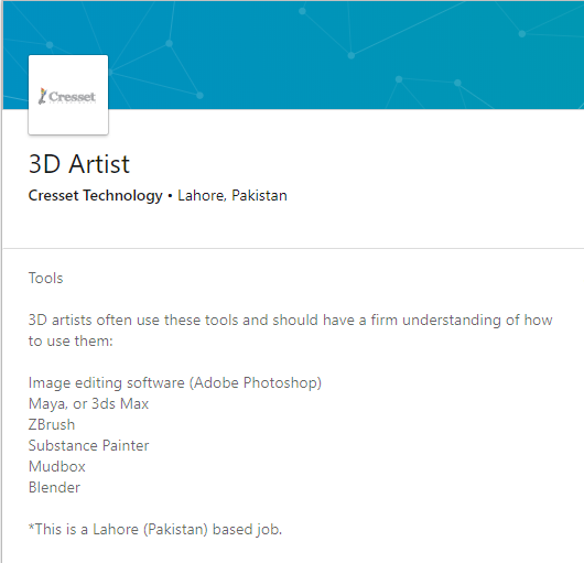 Cresset Technology 3D Artist Job in Lahore