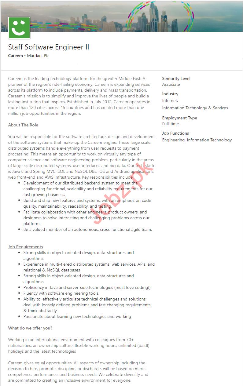Careem Pakistan Jobs for Software Engineer
