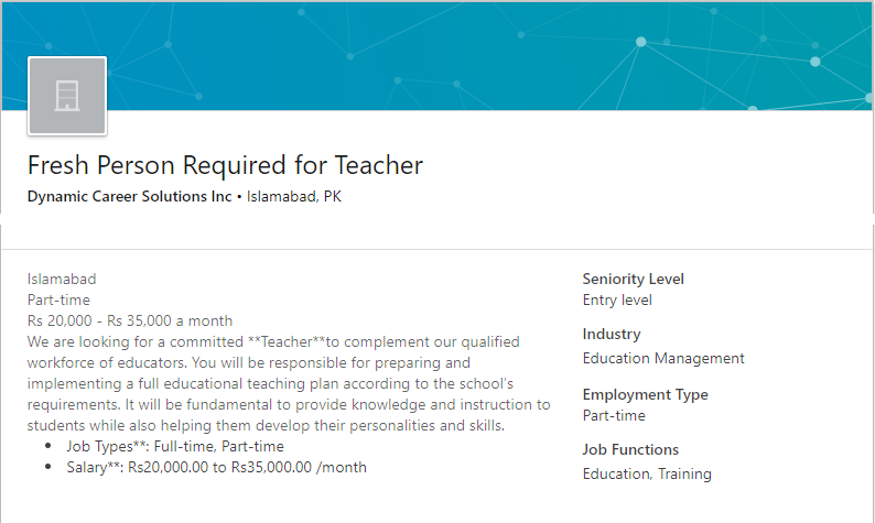 Teacher Job in Islamabad