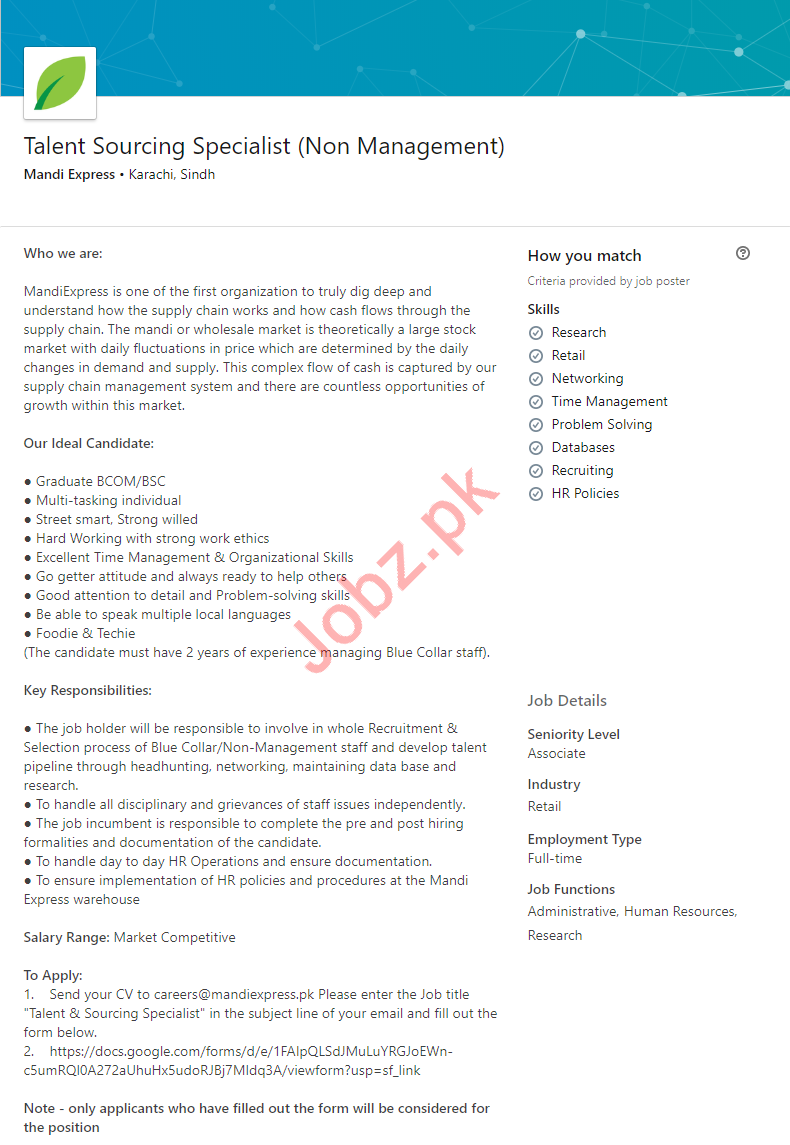 Talent Sourcing Specialist Job 2019 in Karachi