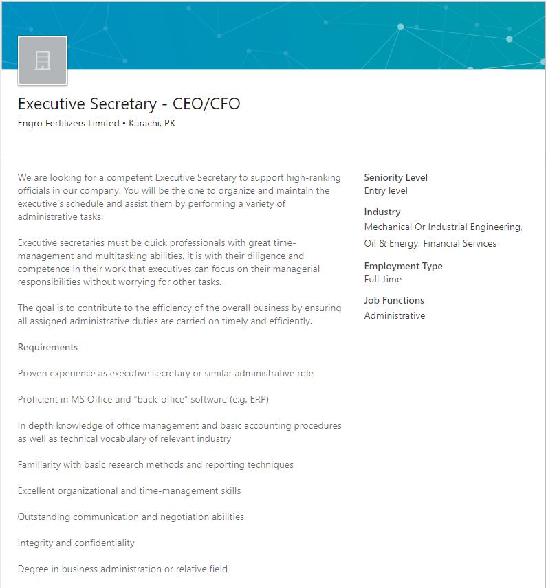 Executive Secretary Job in Karachi