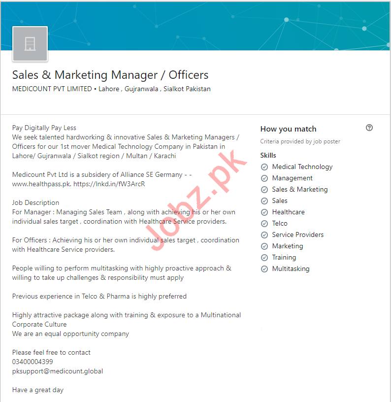 Sales & Marketing Manager / Officers Jobs 2019