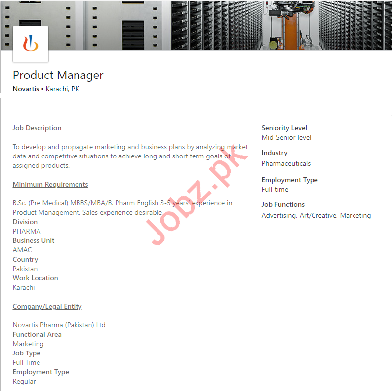 Product Manager Job 2019 in Karachi