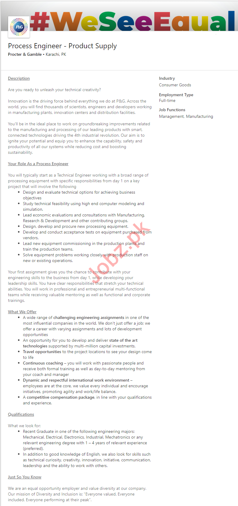 Process Engineer Product Supply Job 2019 in Karachi