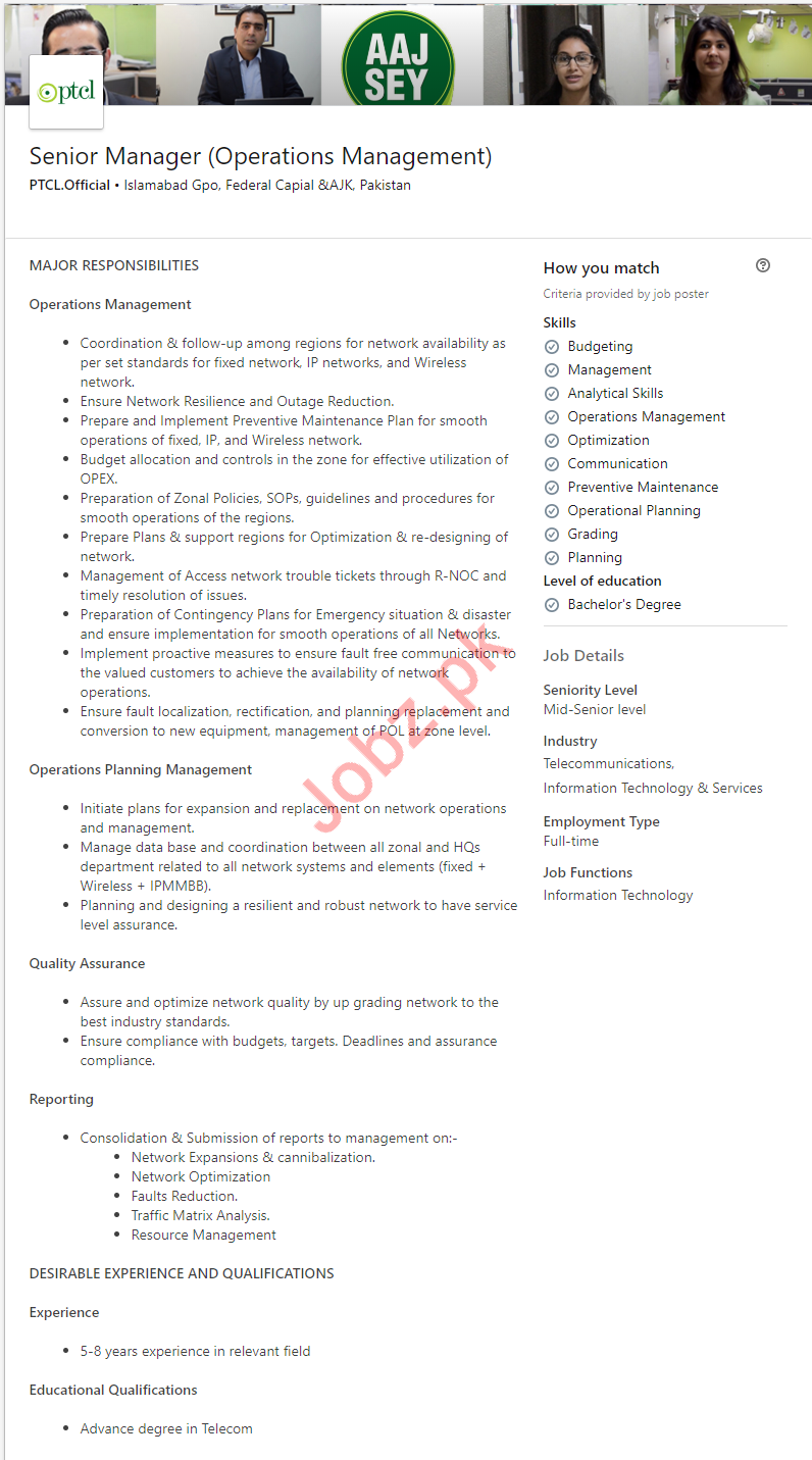 Senior Manager Operations Management Job 2019 in Islamabad