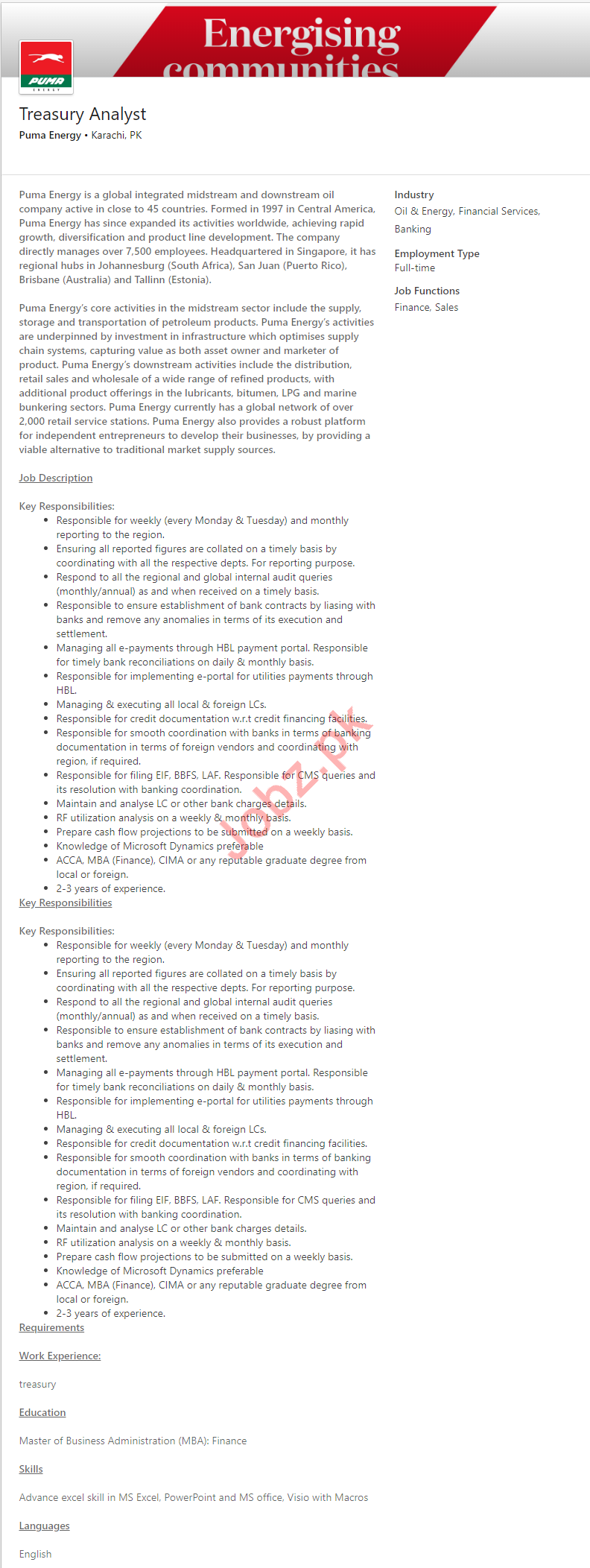 Treasury Analyst Job 2019 in Karachi