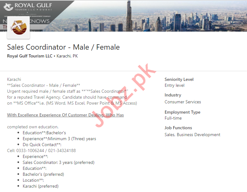 Sales Coordinator Job 2019 in Karachi