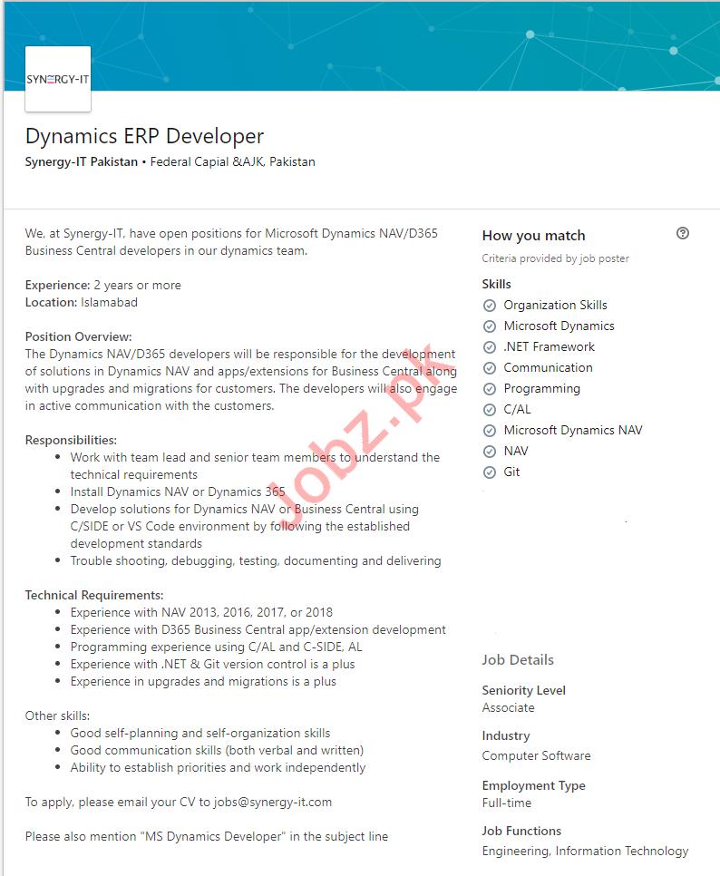Dynamics ERP Developer Job 2019 in Islamabad